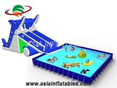 Inflatable Dophin Water Slide With Pool